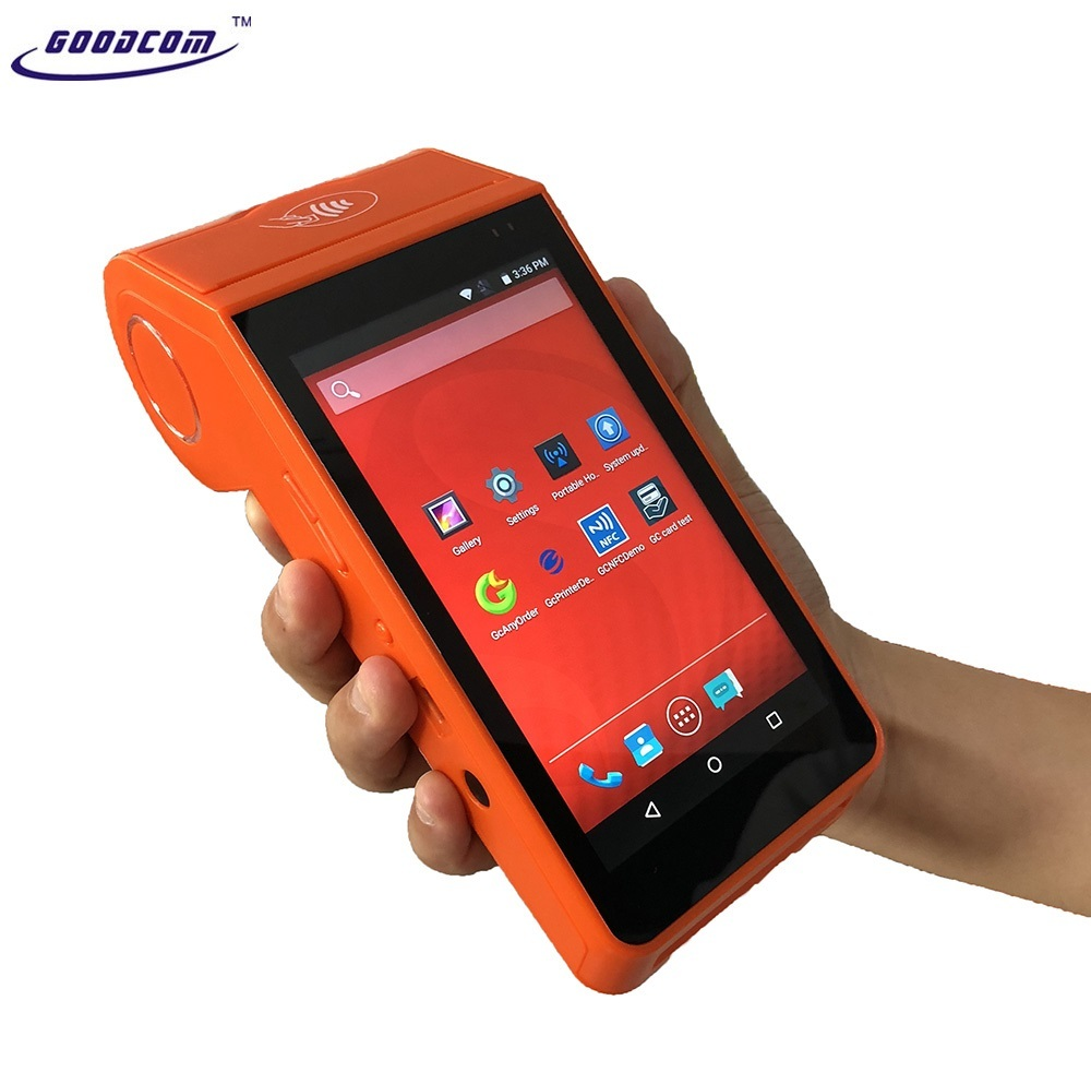 Supports Bar code and QR code scanner 4G android handheld pda device with built in thermal printer