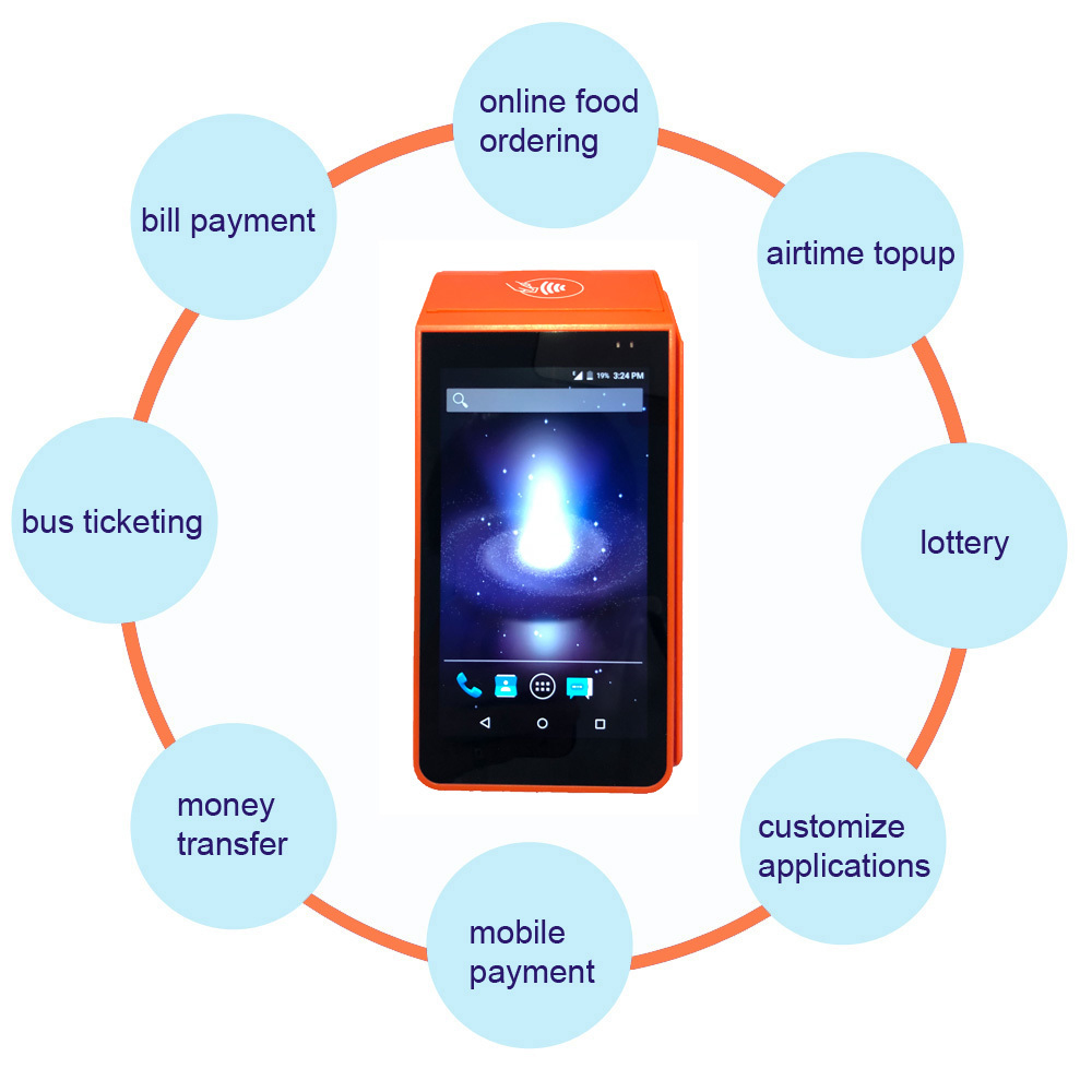 Handheld Android 7.1 OS E-Wallet Mobile Paymet Pos Termninal with Printer