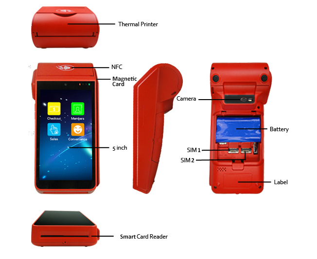 4G/3G/WIFI/Bluetooth Handheld Android Edc POS Terminal with Printer
