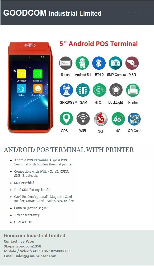 Touch screen Android thermal printer with Free SDK and Free APP for Restaurant online orders