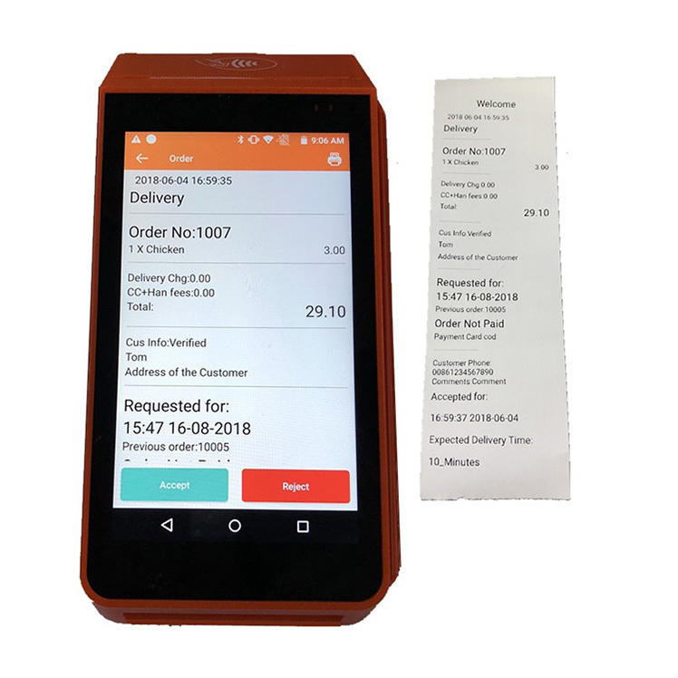 Smart 4G Android Pos Terminal Thermal Printer For Karenderia Order Take App