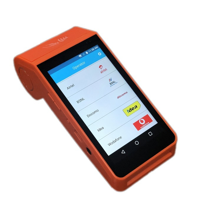Customizable Android Smart Handheld POS Terminal with Printer for Mobile Airtime Topup and Electronic Voucher