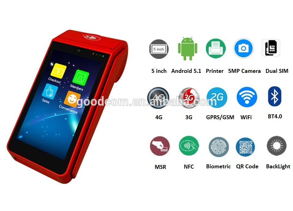 5inch Touch Display Screen and Android Operating system handheld POS terminal