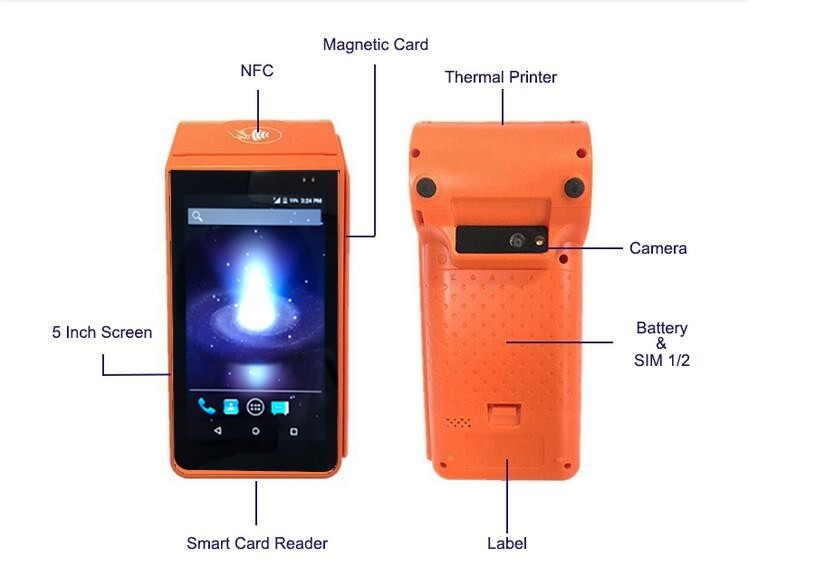 Portable Barcode Scanner Nfc Pos Android Terminal , Handheld Android Pos TerminalWith Printer