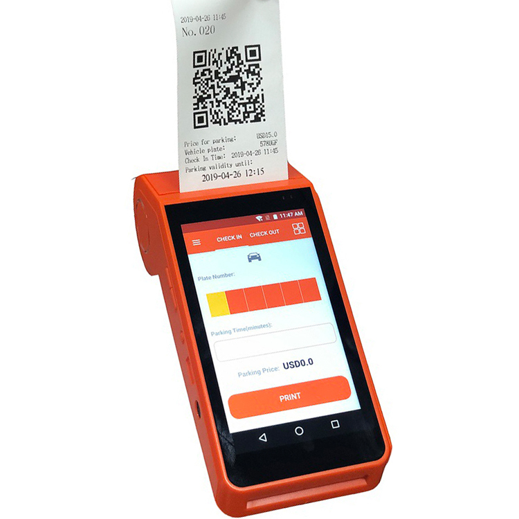 Handheld Restaurant Ordering 4G Mobile Payment Parking Receipt Printer Android POS Terminal With Printer