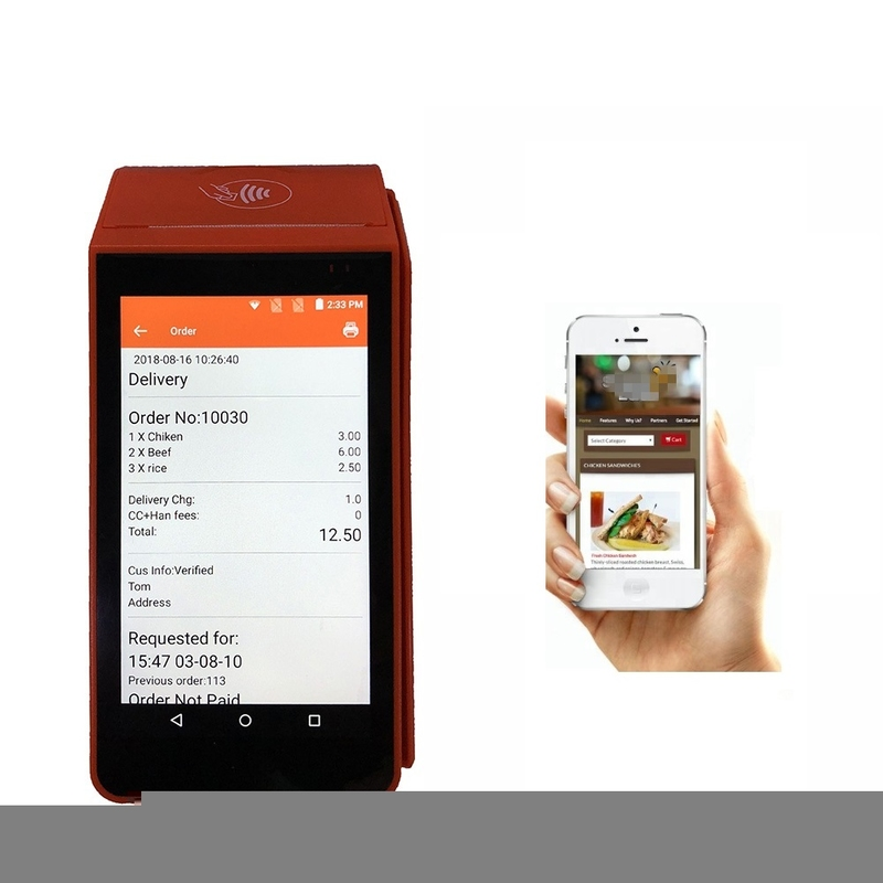 New Design OEM Accept Handheld WCDMA Mobile Printer Android POS Terminal