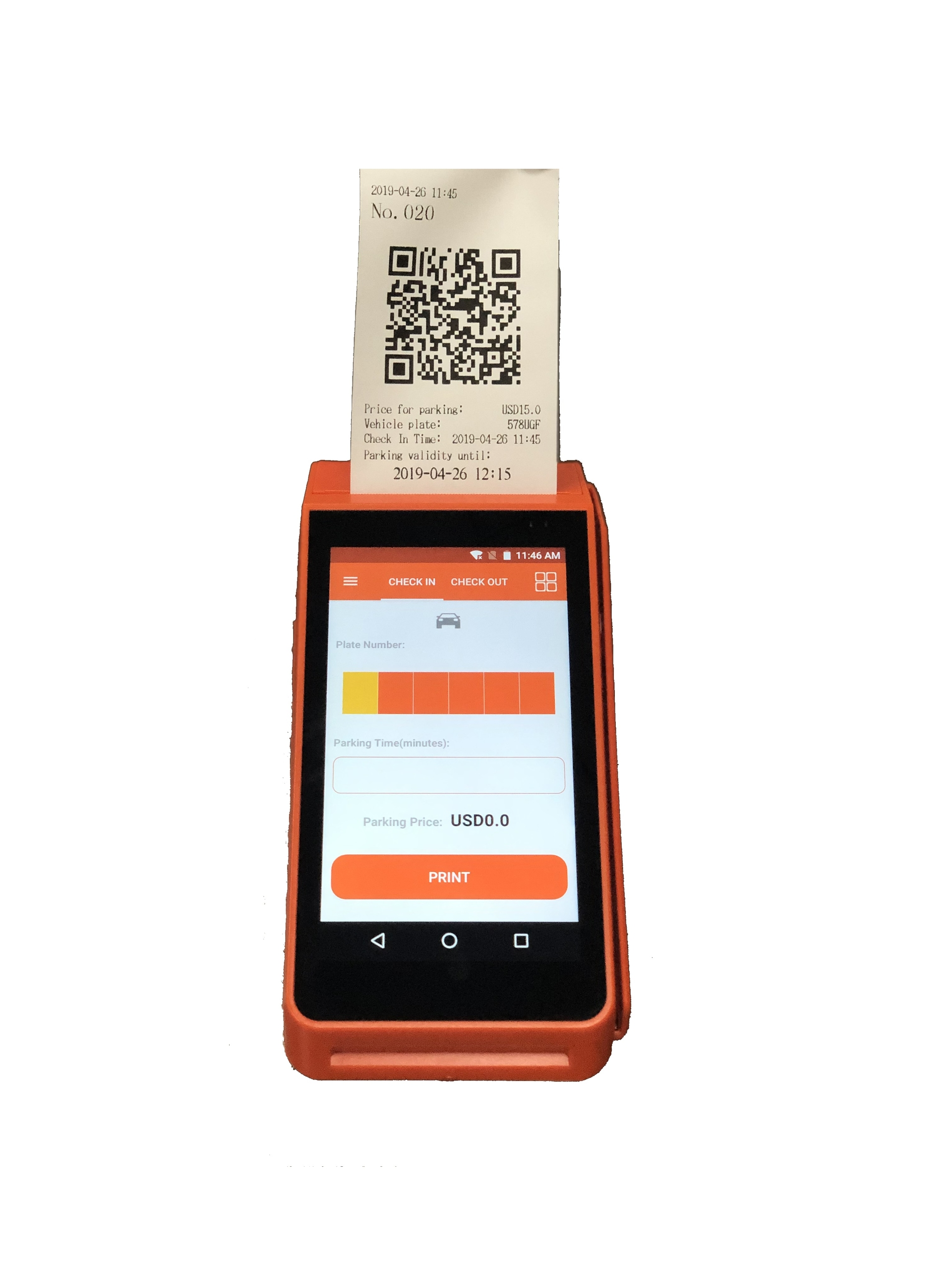 Android Handheld Parking lot Bus Ticketing Machine with Camera