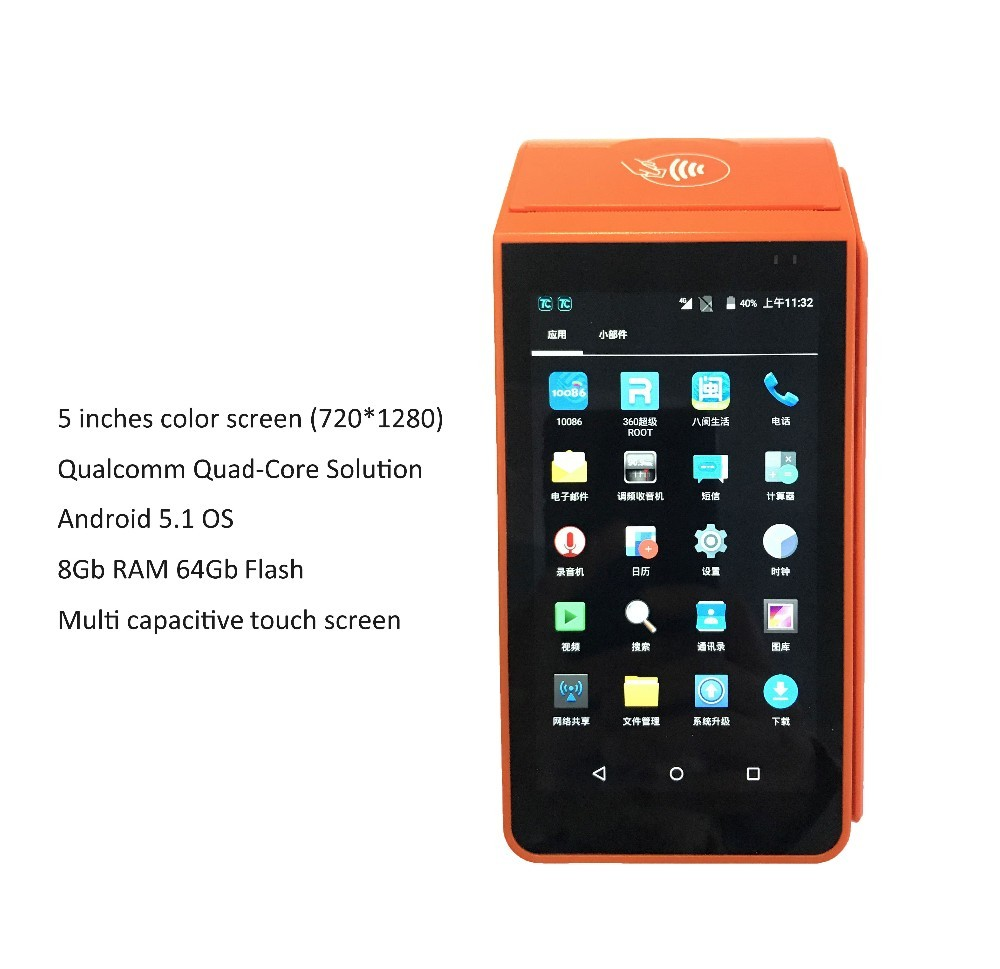 Free SDK Touch Screen Mobile Portable HandheldAndroid POS Terminal with Printer