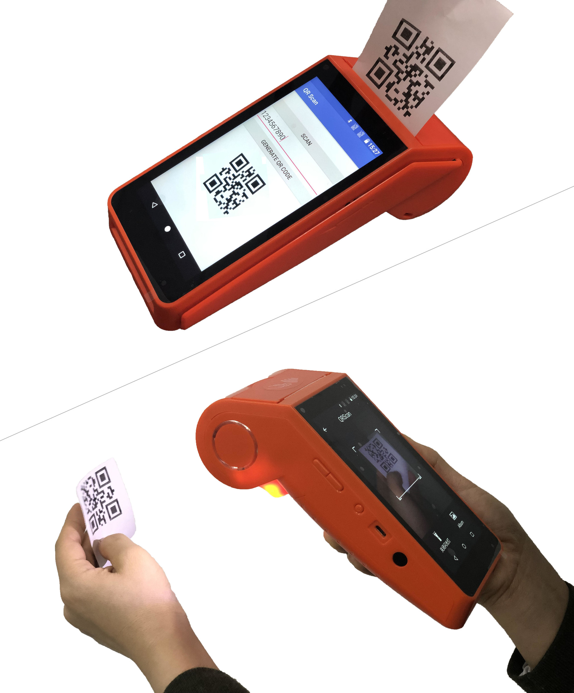 Mobile Smart Handheld Android POS Machine with Integrated Printer for Electronic Voucher