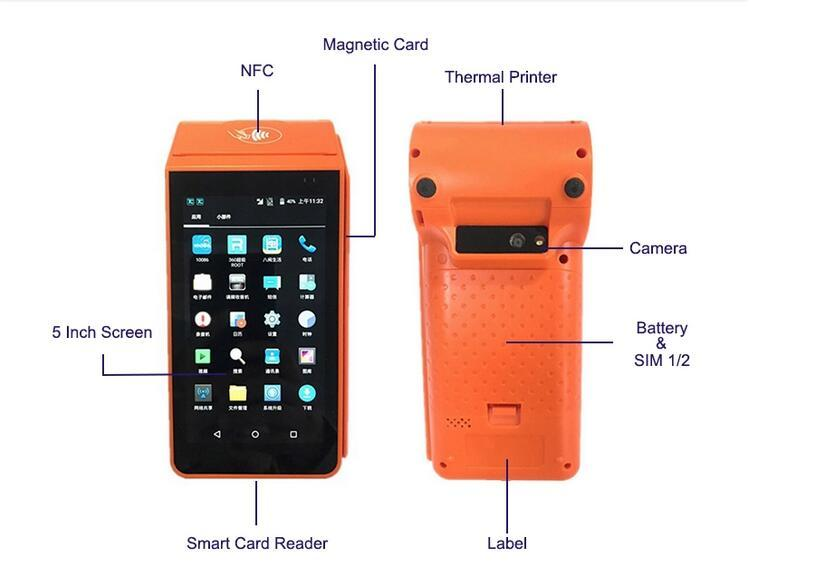 BusTicket Printer Mobile Smart POS Machine Android with Barcode Scanner