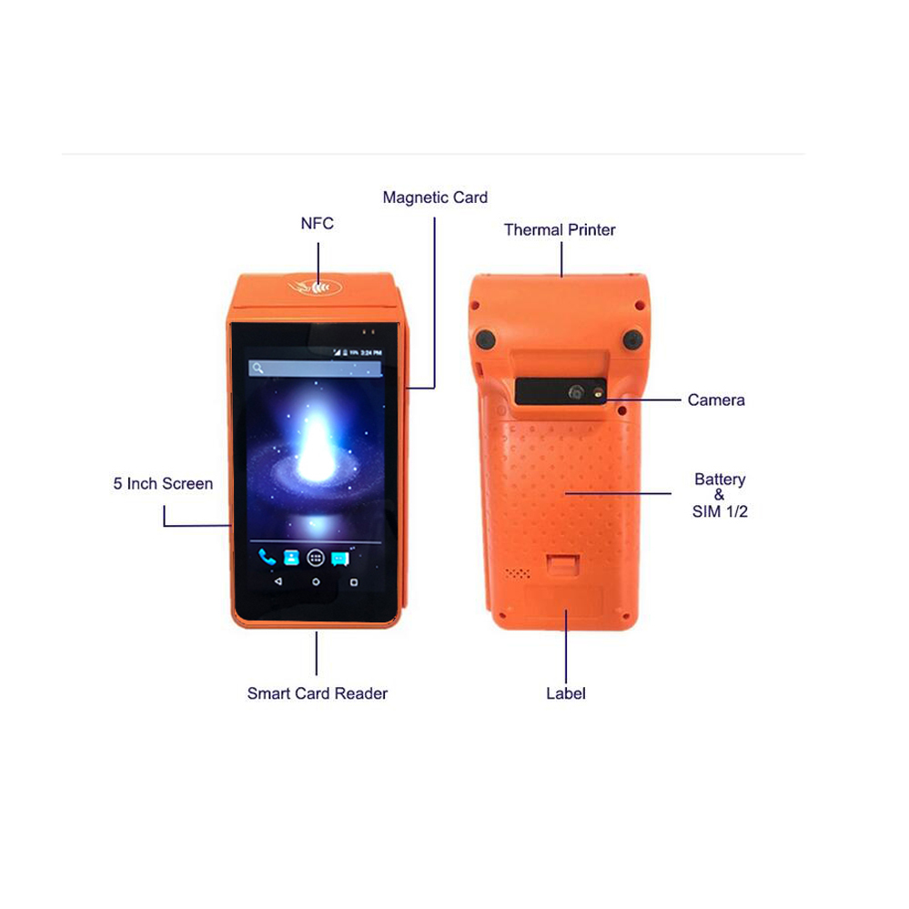 4G Portable Machine Android Handheld Pos Terminal with Printer