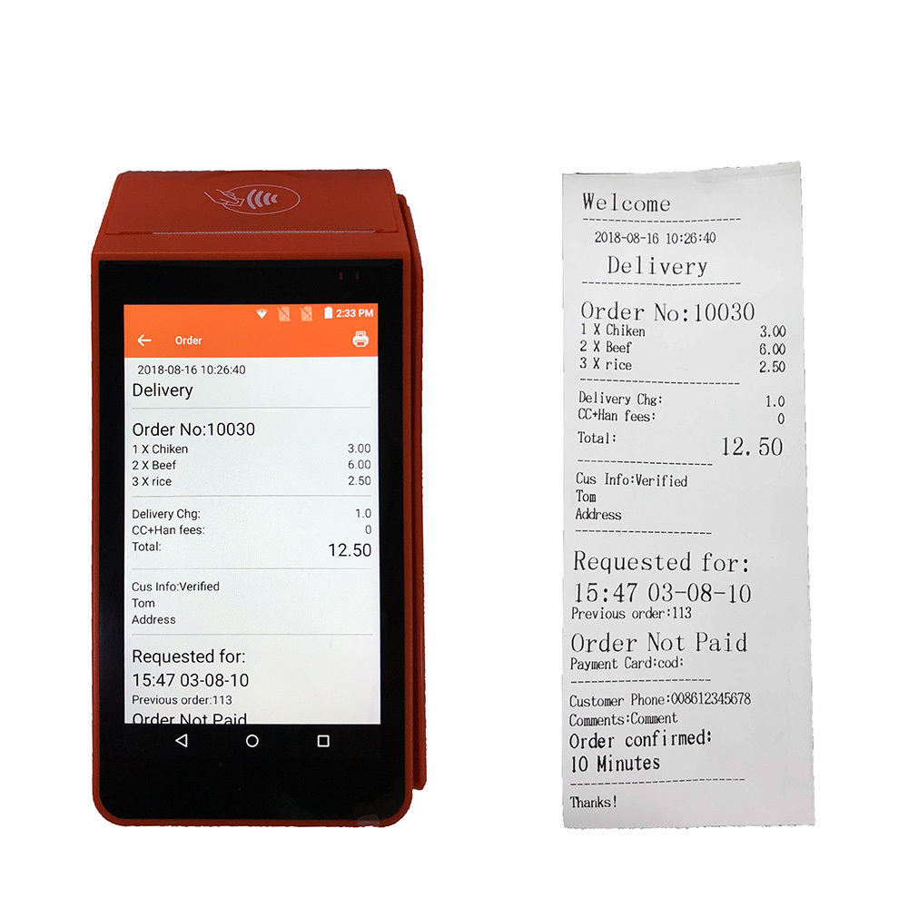 Restaurant Food Ordering Portable Smart Android Handheld Pos Terminal device With Thermal Receipt Printer