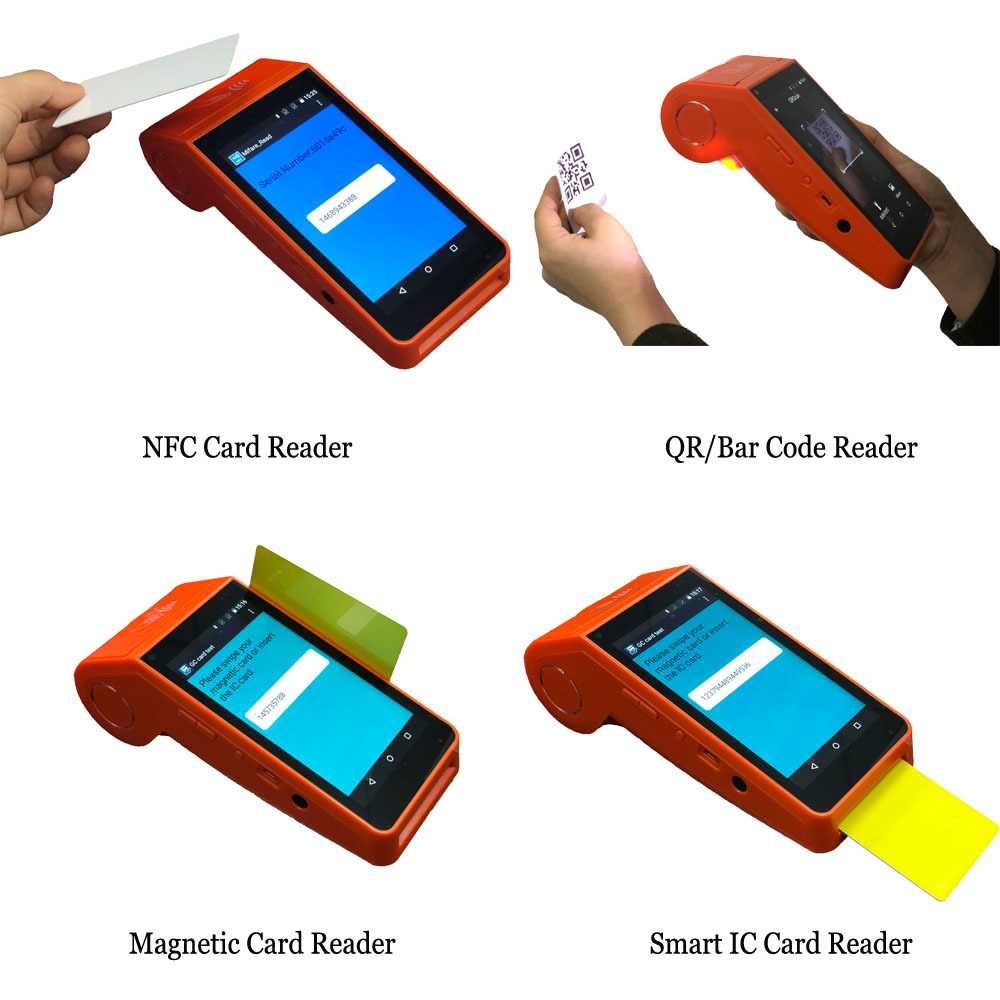 Cheap 4G Handheld Reader NFC Android POS Terminal with Printer