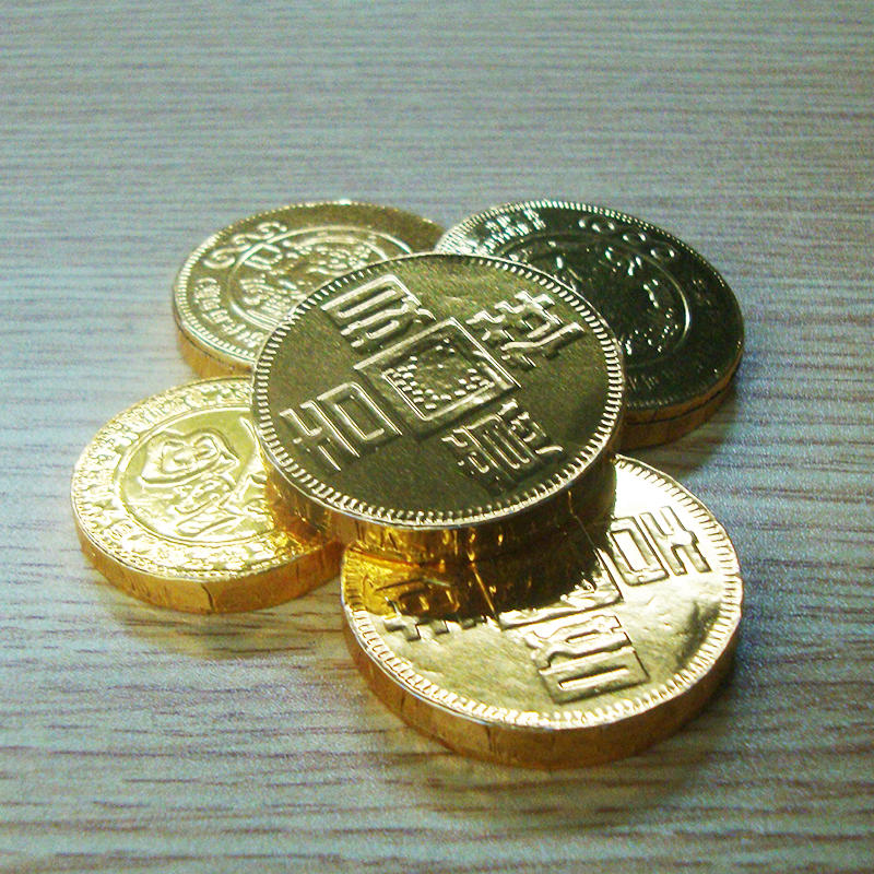 Factory Price High Quality Custom Colored Foil Wrapper for Gold Coin Chocolate, Chocolate Coin Wrapper