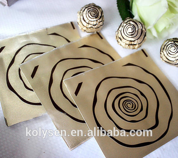 Embossed chocolate packing use aluminum gold foil paper