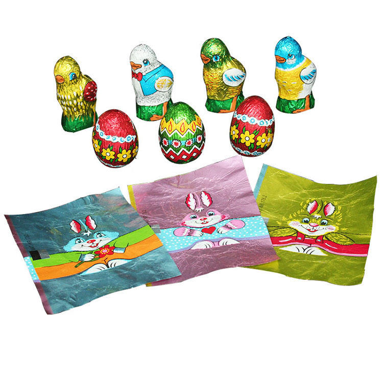 Colorful egg chocolate aluminum foil wrappers for Easter