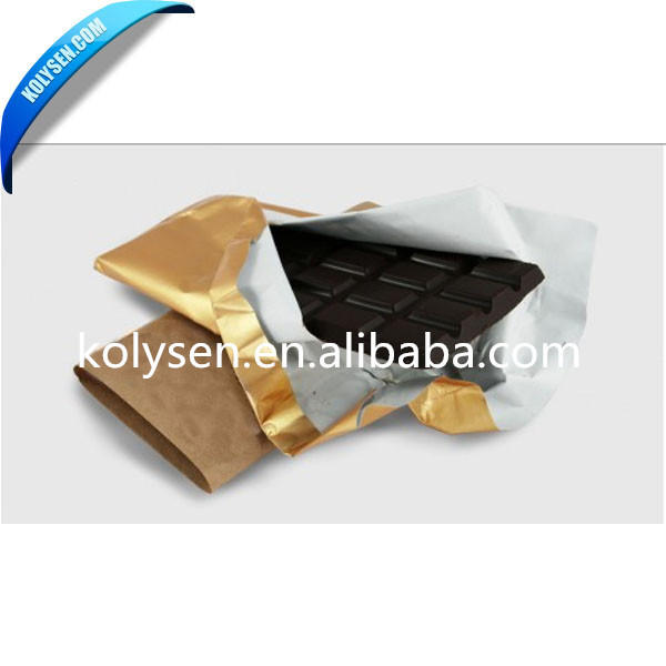 Embossed gold coated aluminum foil laminated paper for chocolate wrap