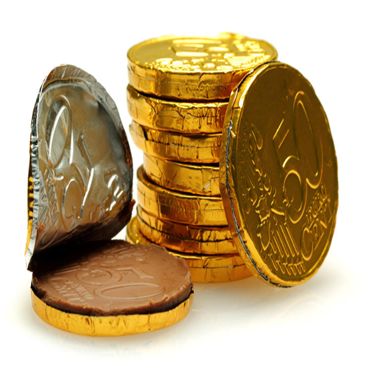 Customized gold foil chocolate coins wrapper