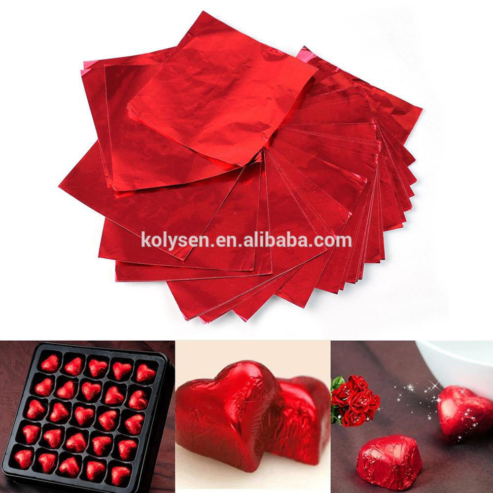 Chocolate hearts wrapping red aluminum foil in sheet