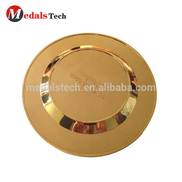 Free design service zinc alloy engraved gold plated blank metal custom logo thin metal plate