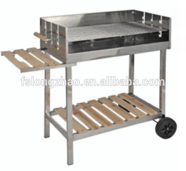 Rotisserie shop trolley stainless steel charcoal grill barbecue