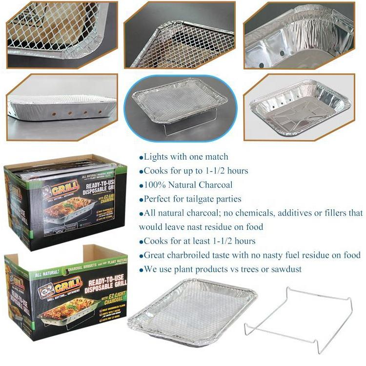 Low price one way use disposable instant barbeque charcoal grill