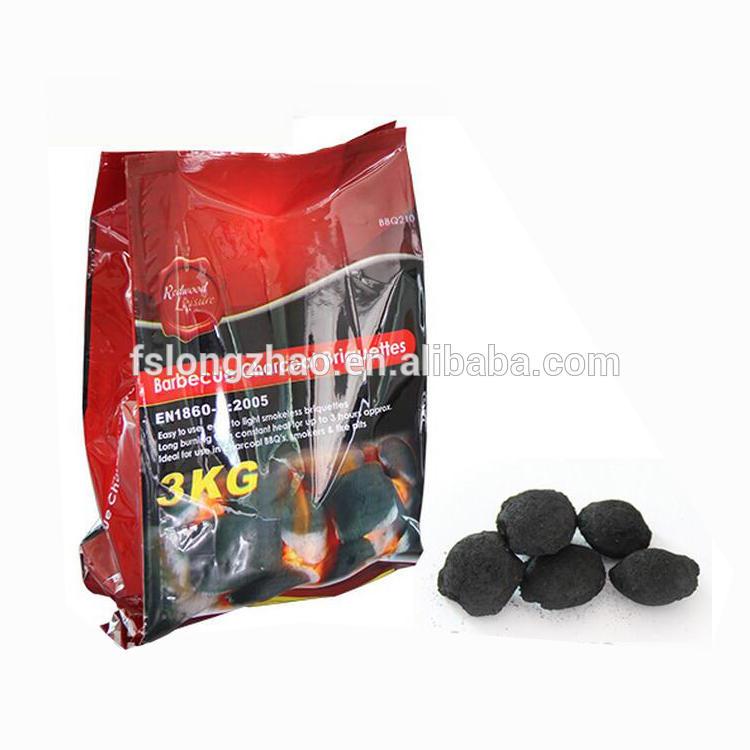 High Calorific Value coconut shell sawdust bbq charcoal briquette