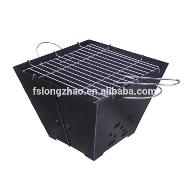 Iron powder coat finish folding portable charcoal bbq grill
