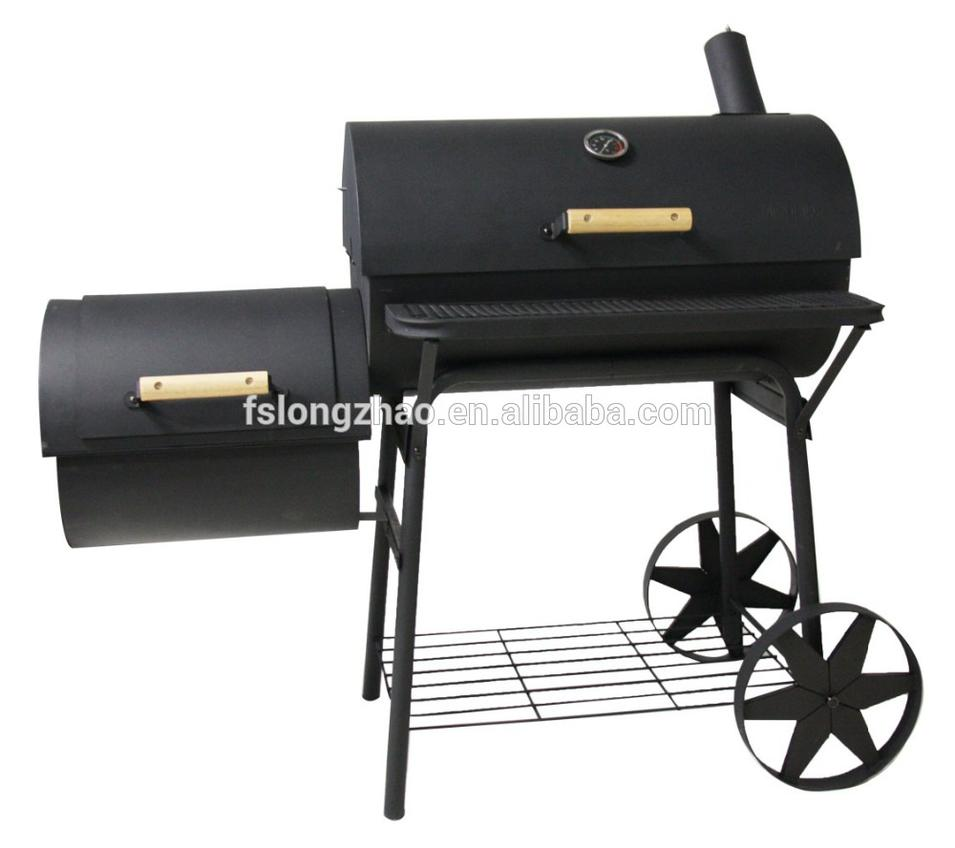 Commercial heavy duty bbq grill & smoker large barrel portable charcoal bbq grill