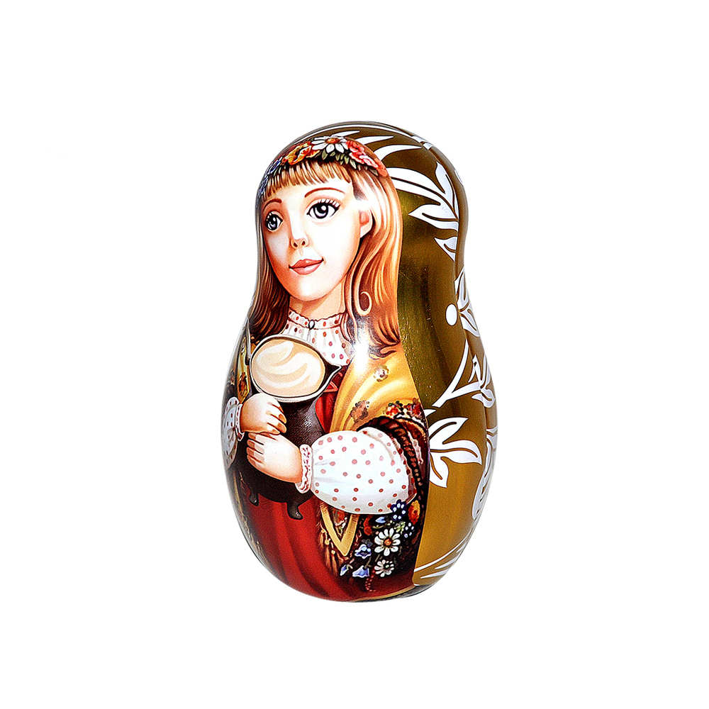 High Quality Wholesale RecycledMetal Packaging Tinplate Cans Promotional Tea Containers Cute Matryoshka Tin Box