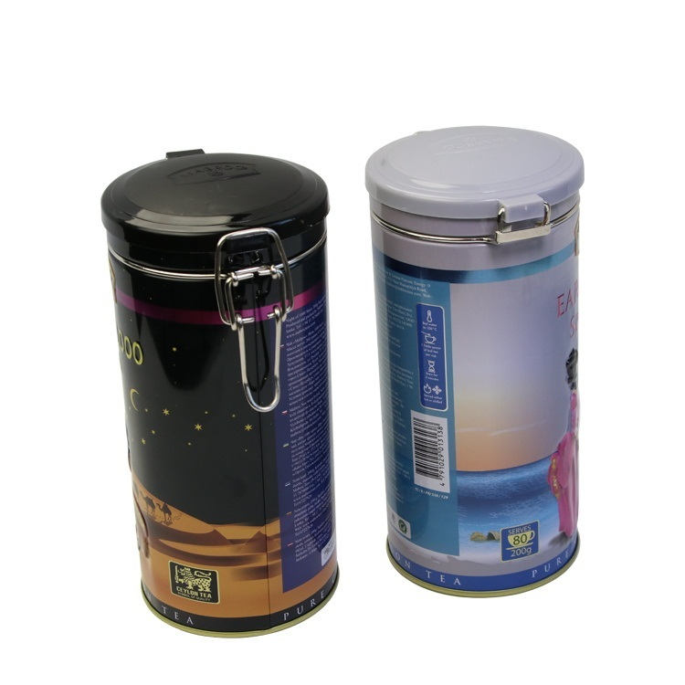 Custom Vintage Round classic Black Tea Packaging Metal Chinese Cylinder Cans Box Tea Tin can with lid and lock