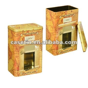 Big rectangular map tin box with window / yellow tin can with map/hinged tin box for packing