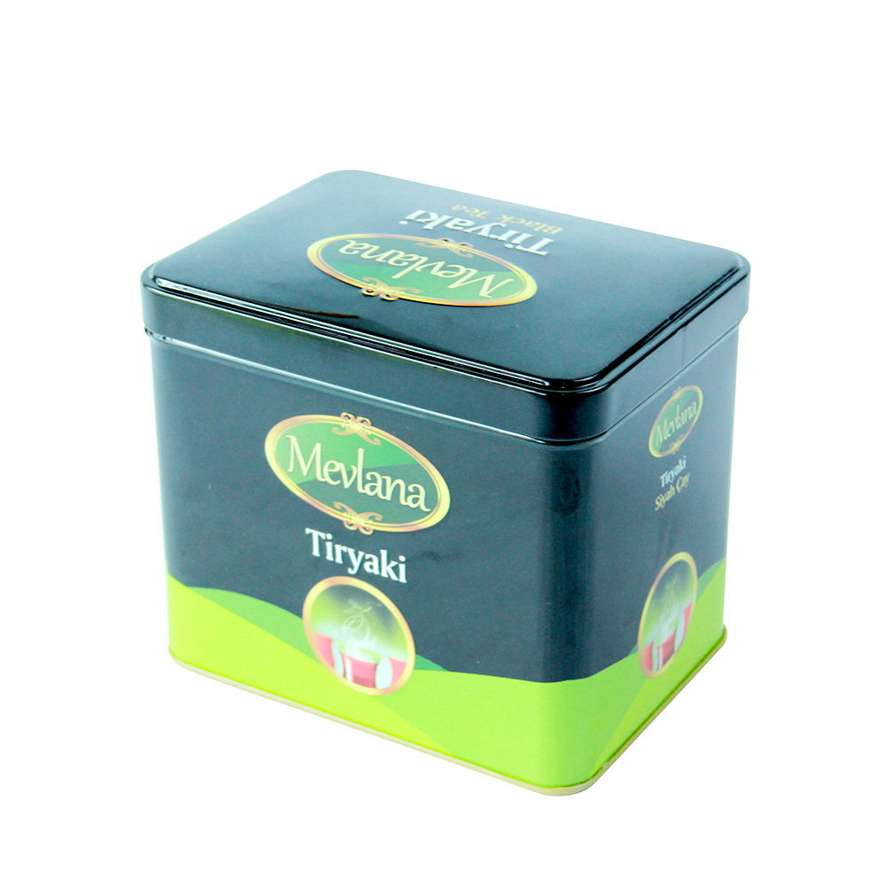 Eco-friendly recyclable food tea packaging metal tin box blacktea Green tea container candy jar