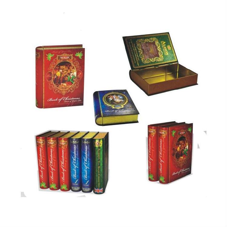China Manufacturer Book shape gift packing box tea food metal tin box