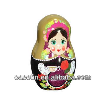 Decorative russian doll tin box Chinese wholesale