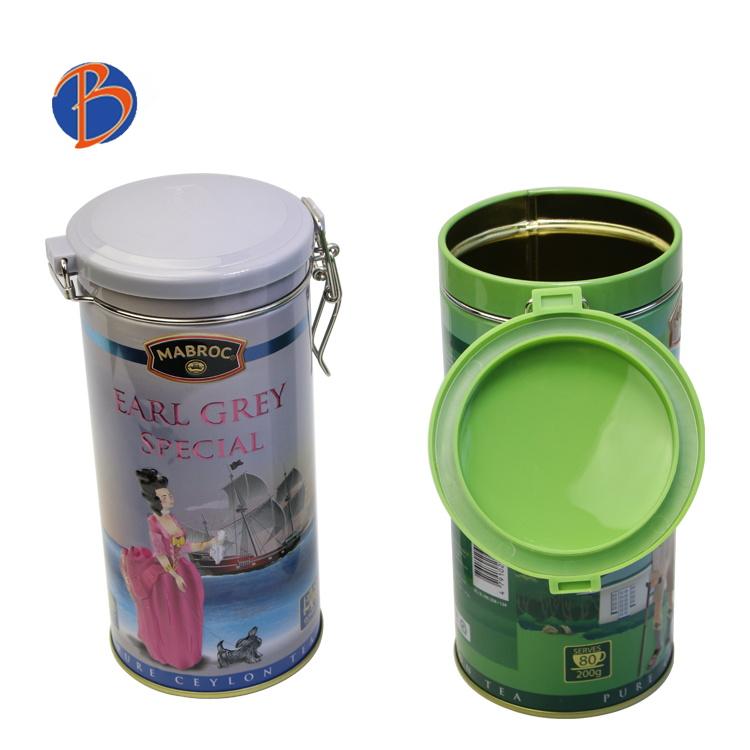 Bodenda food grade coffee tinpackaging boxairtight round metal tin box with clip lid