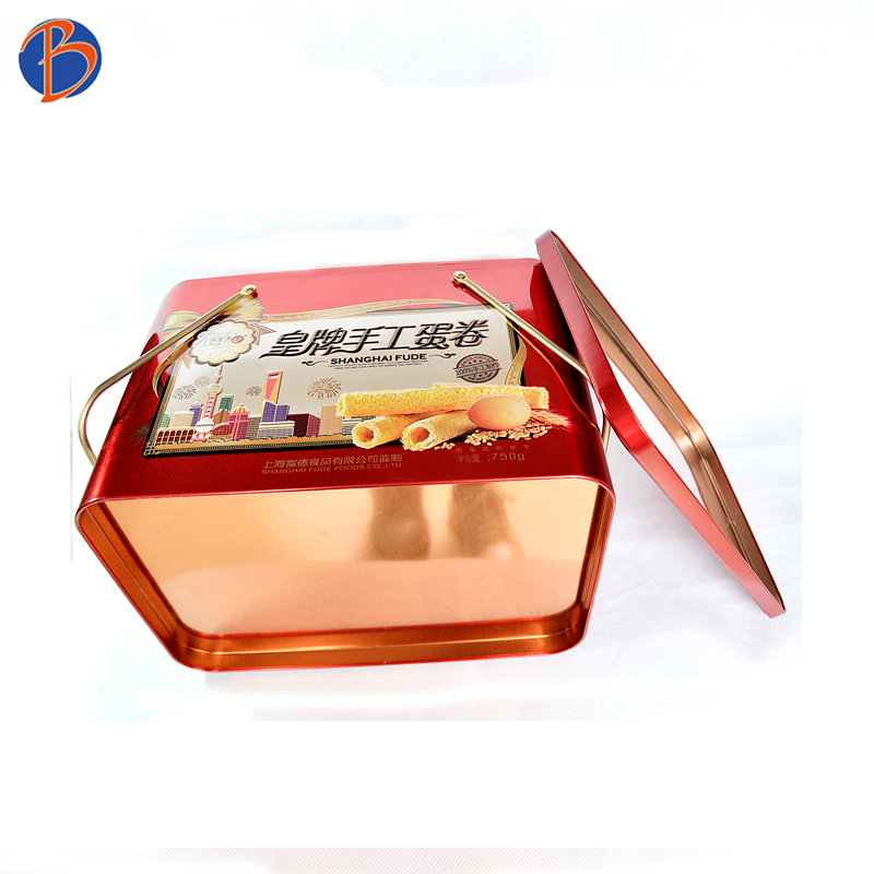 Bodenda top quality customized square gift biscuit, cookies,chocolate ,candy , food packing tin box with handle