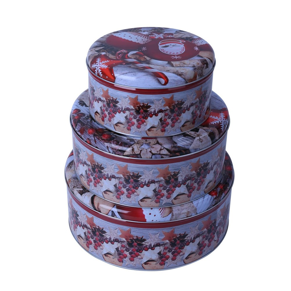 Factory Cheap Custom Printed Gift Tin Boxes Round Large Biscuit Tin Cans Packaging
