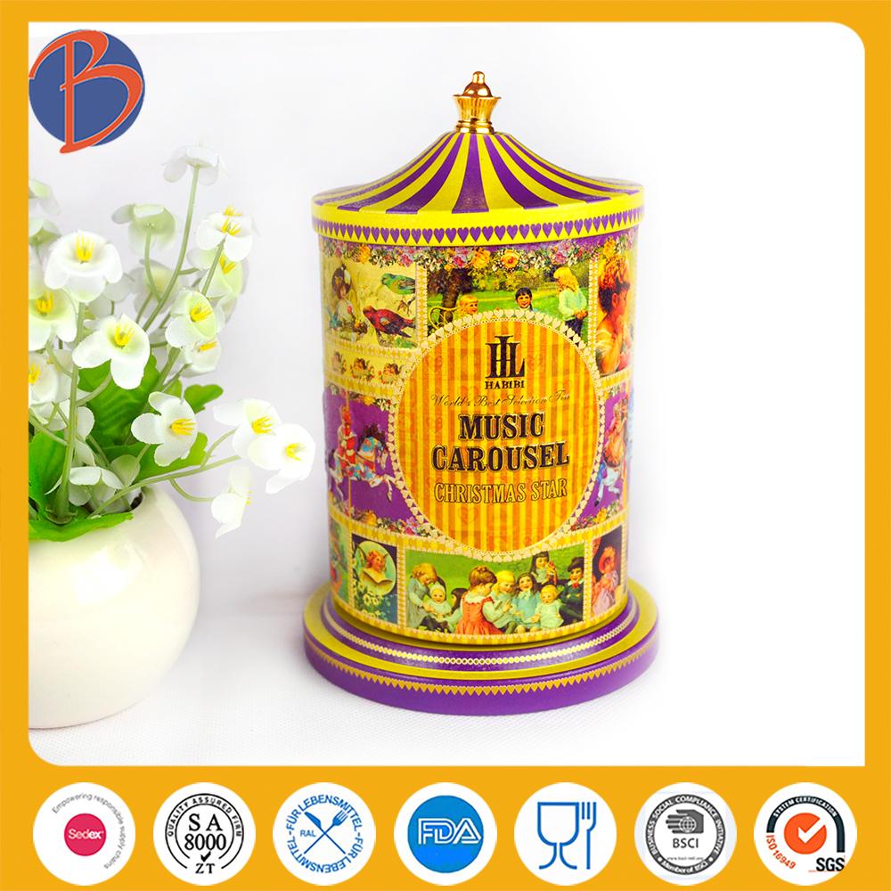Chrismas gift carousel music tin box