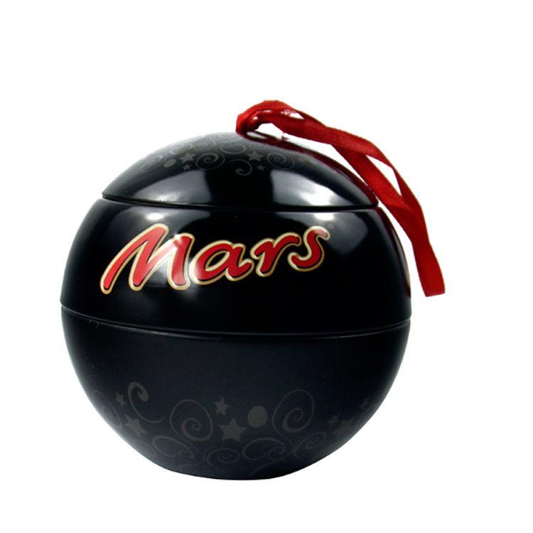 Empty Round Ball Shape Black Storage Box Wedding Favor Tin Box chocolate packing Container