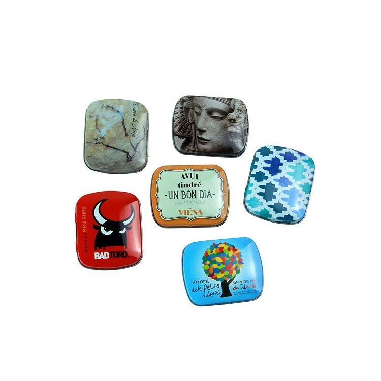 Cute Mini Tin Box Coin Bag Vintage rectangle Tinplate Shape Storage Jewelry Box 60x48x15mm Lovely Print Storage Box Girls Gift