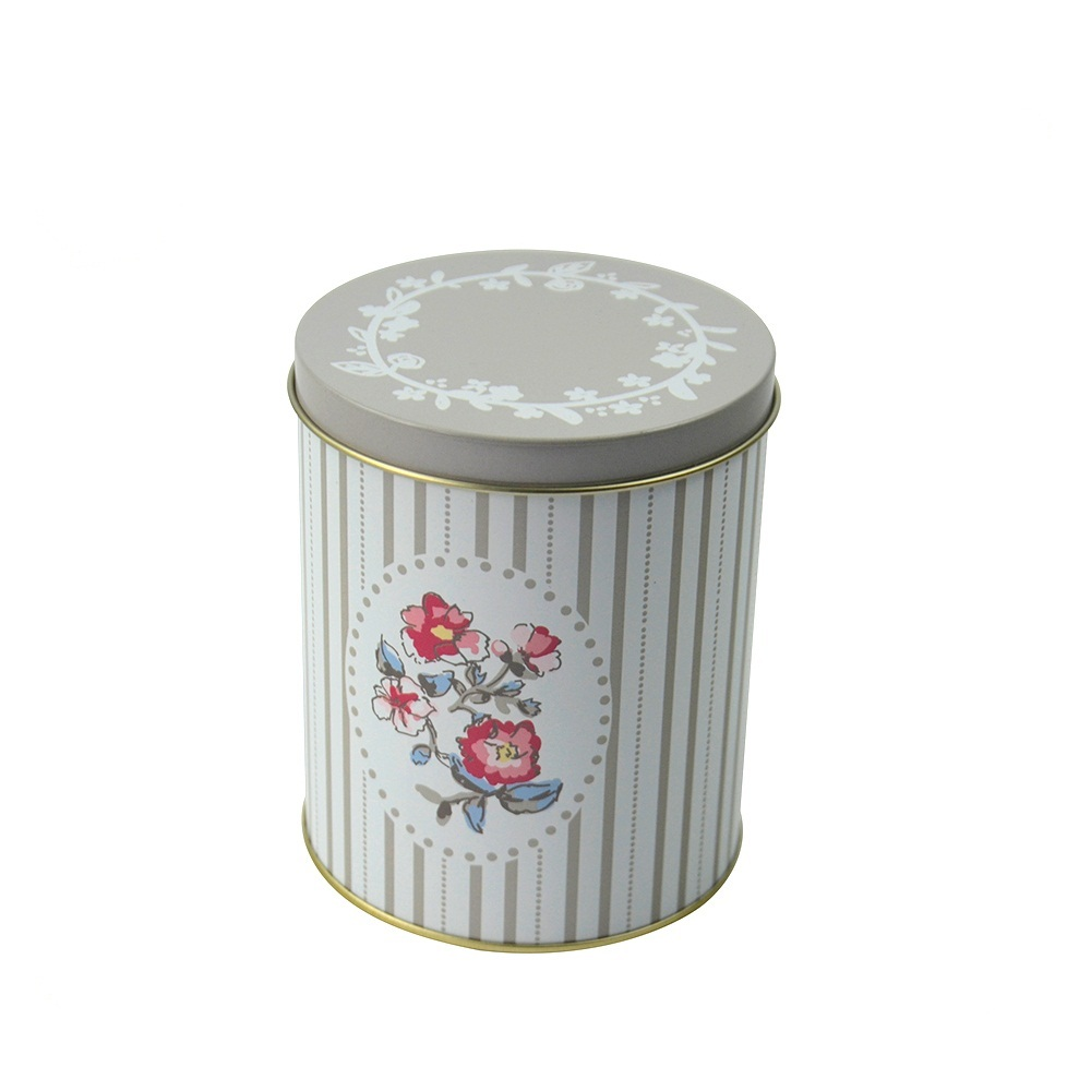 Floral pattern round cylinder can tin with easy open screw lid elegant luxury tea packing storage box