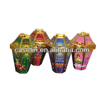 Fashionable decorative lantern shape candy gift packaging Handle tin box with locked lid