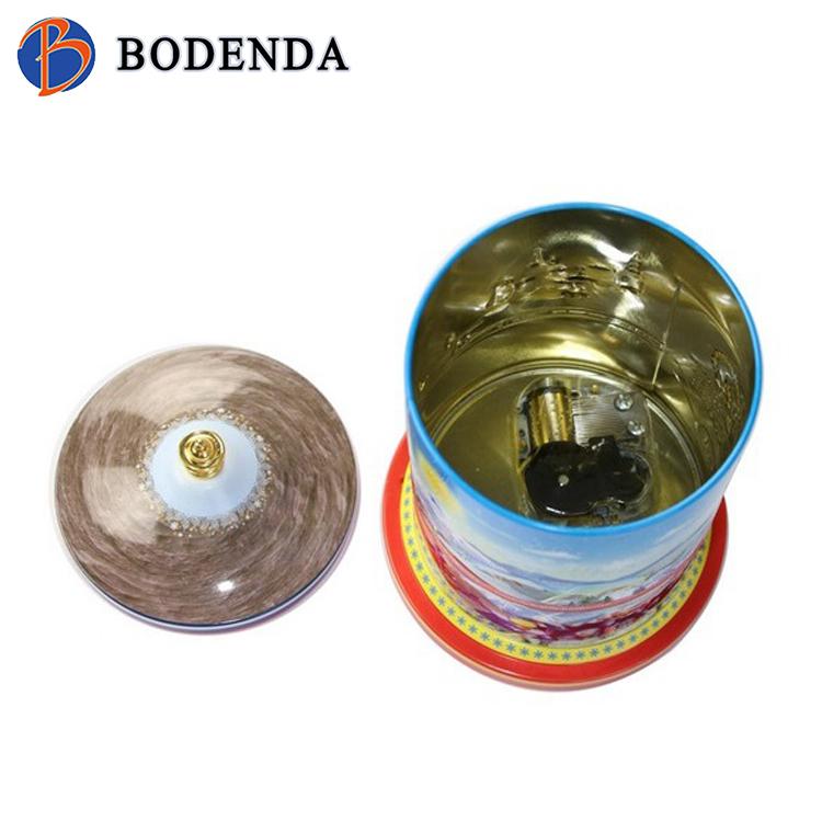 supply custom round tin christmas music box