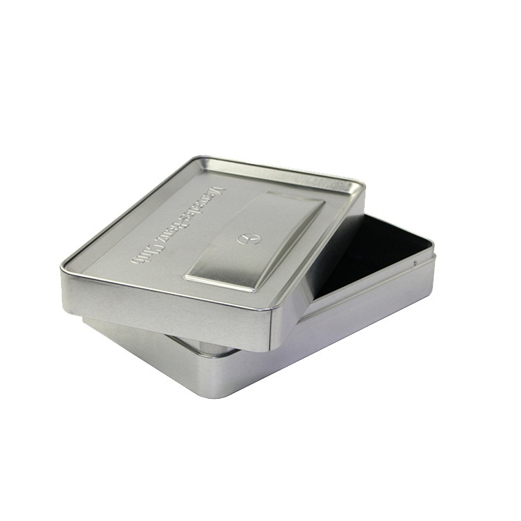 rectangular shape tin car perfume packaging box with embossed Logo metal cans with lids
