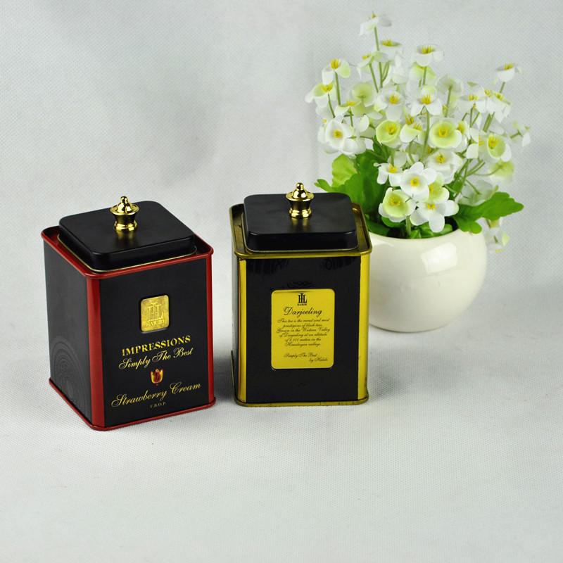elegant square shape metal tea tin box for tea packaging