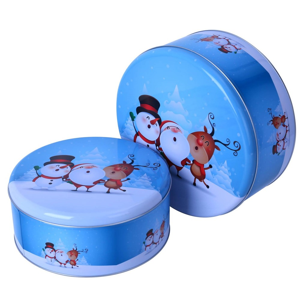 Custom wholesale in stock metal food grade empty tin cans set round Christmascandycookiemetaltin box packaging