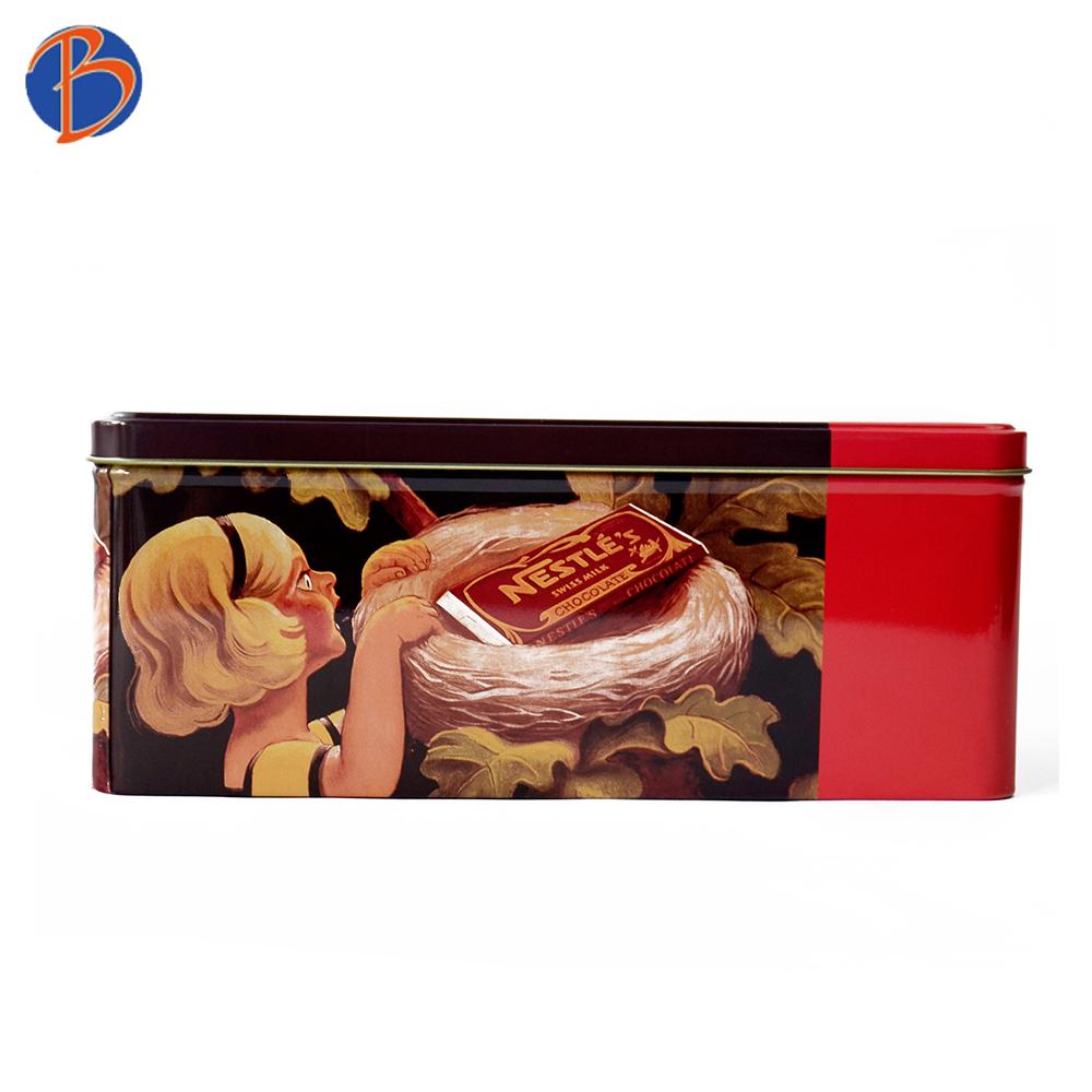 Rectangular cookie cake packaging boxes metal tin box