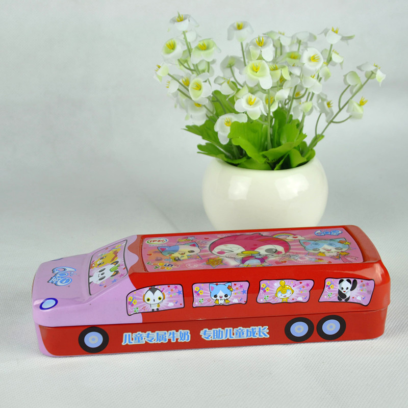 2018 bus shape pen/pencil container tin box with two layers