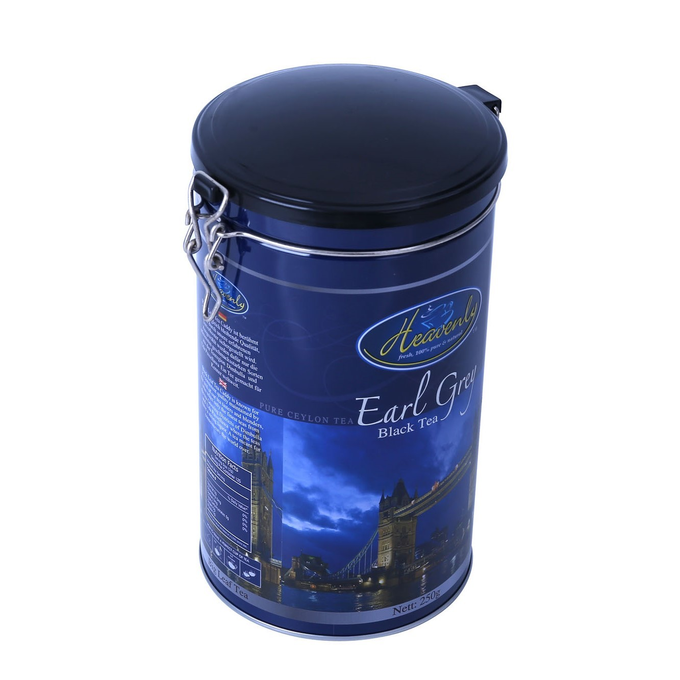 Food grade customized printing empty meta tea tin can 250g gift earl grey tea container packaging box